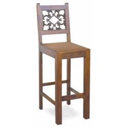 Meble kolonialne - krzesło barowe ze zdobionym oparciem (RD-028)