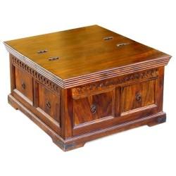 Meble Kolonialne – drewniany stolik kawowy – kufer (RD-069)