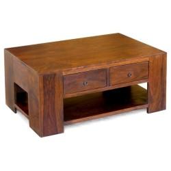 Meble  Kolonialne - Masywny stolik kawowy z szufladami (RD-044)