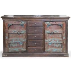 Meble Kolonialne - antyczna drewniana komoda z pięcioma szufladami (RD-052)
