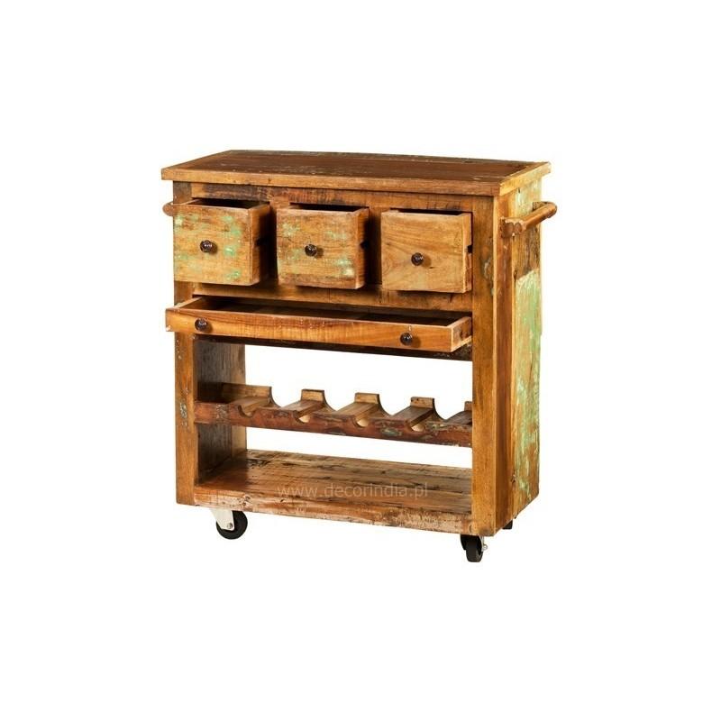 Meble orientalne – kolorowa szafka na kółkach (GOA-04)