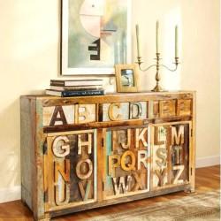 Meble Orientalne - kolorowa drewniana komoda z literami (ABC-03)