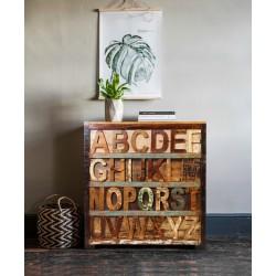 Meble Orientalne - kolorowa drewniana komoda z literami (ABC-02)