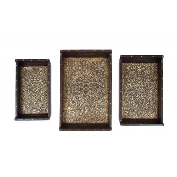 Indyjska drewniana taca set of 3 (MA-40)