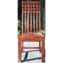 outlet-Meble Indyjskie - Tradycyjne drewniane  krzesło z wysokim oparciem  (RD-089-01)